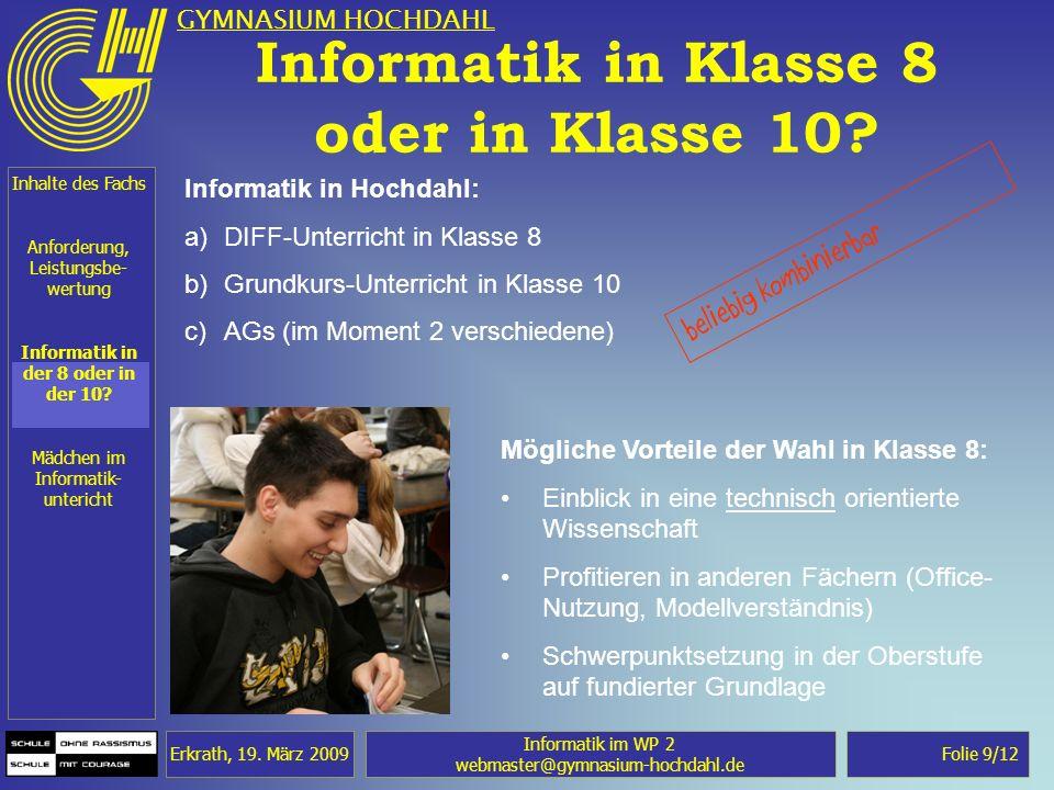 Informatik in Klasse 8 oder in Klasse 10