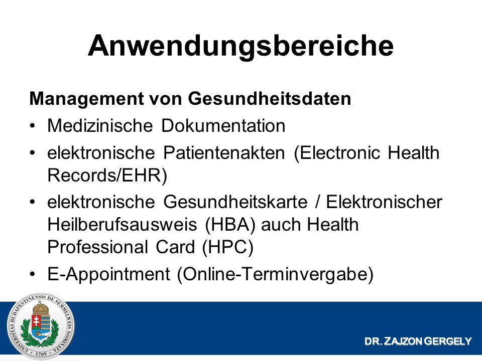 Anwendungsbereiche Management von Gesundheitsdaten