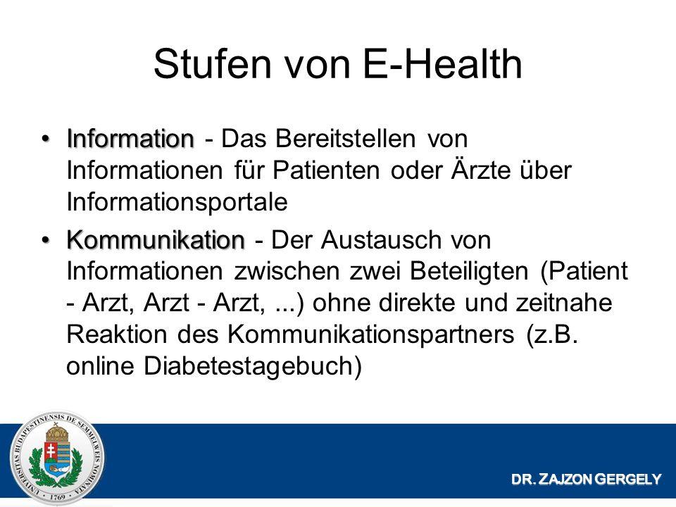 Stufen von E-Health Information - Das Bereitstellen von Informationen für Patienten oder Ärzte über Informationsportale.