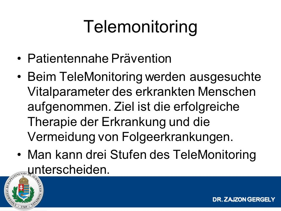Telemonitoring Patientennahe Prävention