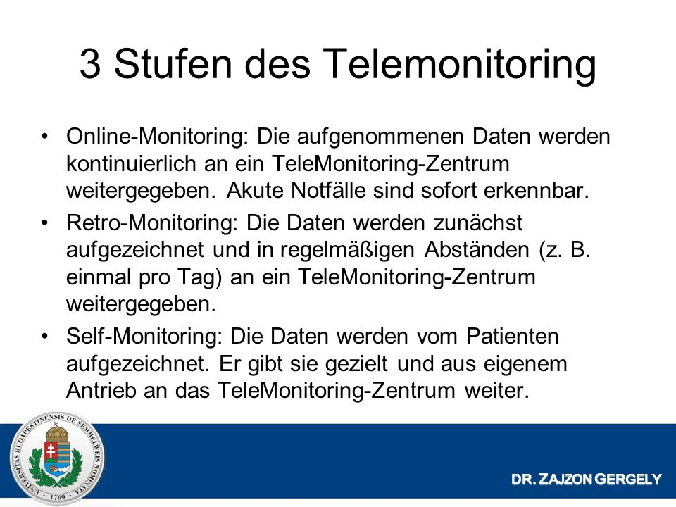 3 Stufen des Telemonitoring