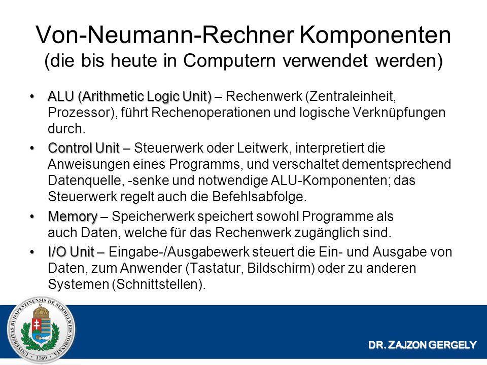 Von-Neumann-Rechner Komponenten (die bis heute in Computern verwendet werden)