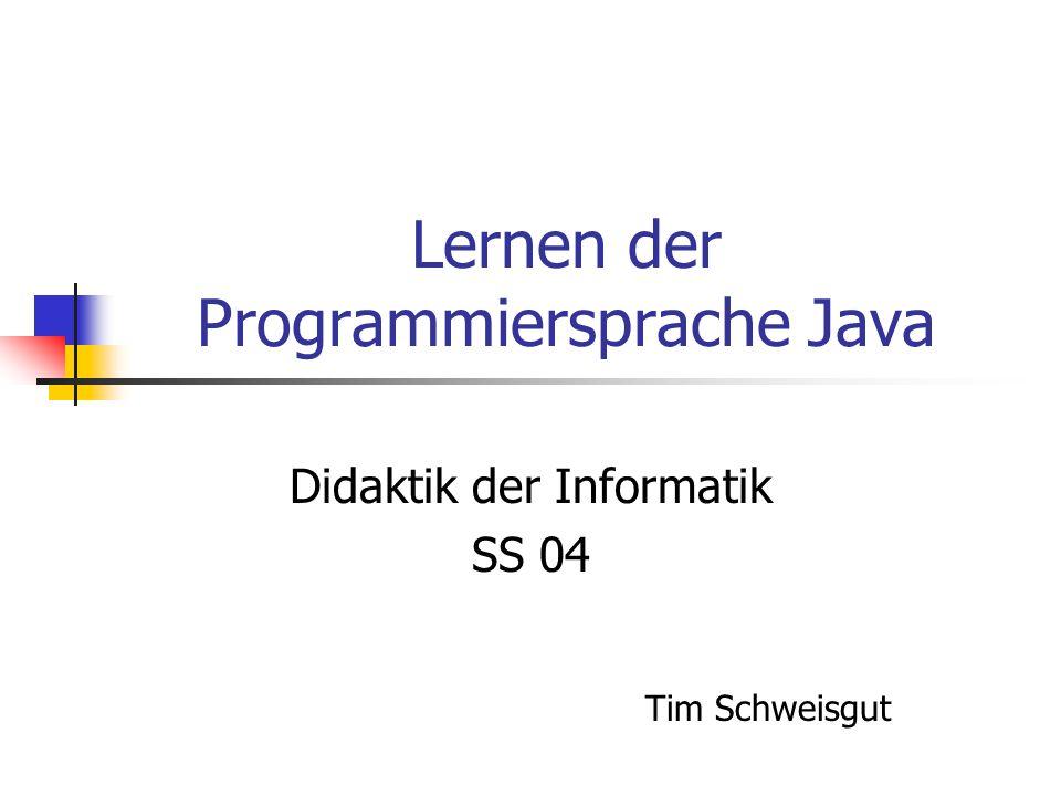 Lernen der Programmiersprache Java