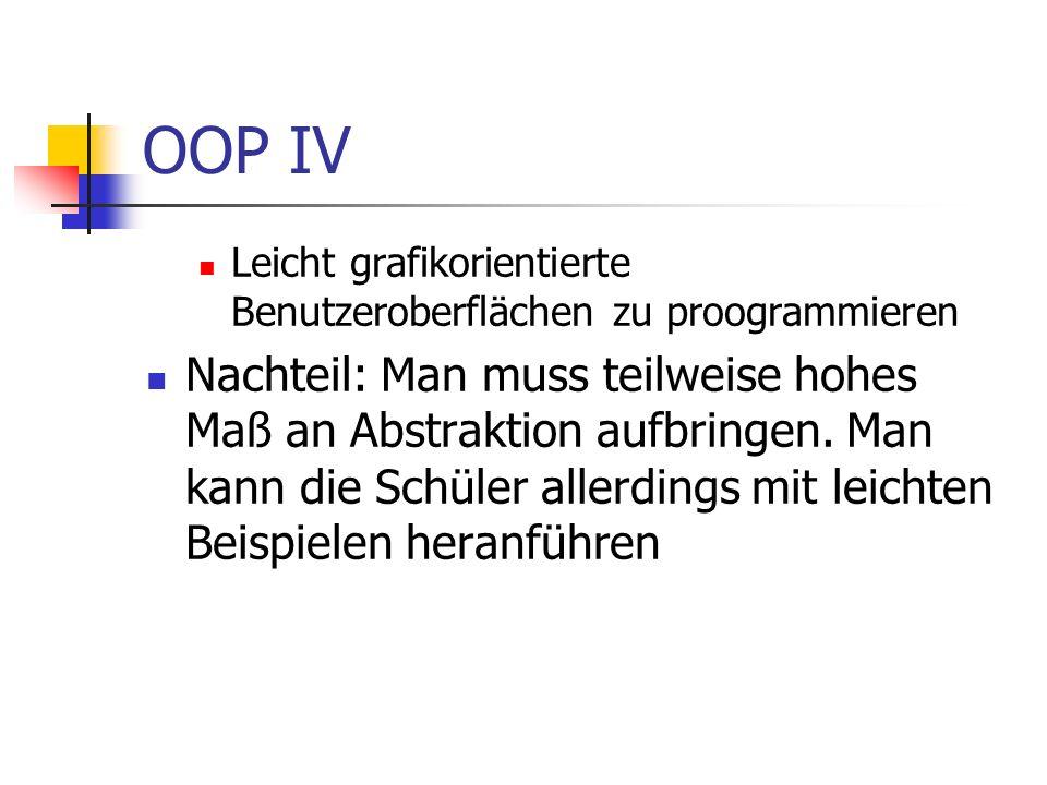 OOP IV Leicht grafikorientierte Benutzeroberflächen zu proogrammieren.
