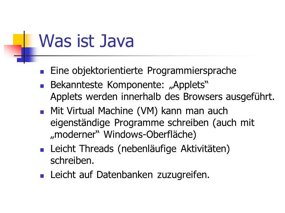Was ist Java Eine objektorientierte Programmiersprache