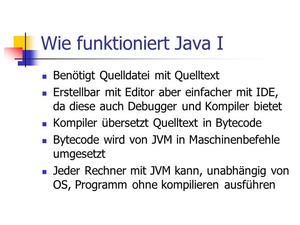 Wie funktioniert Java I