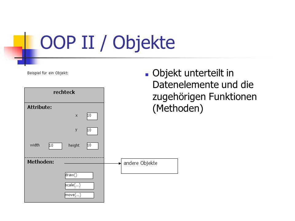 OOP II / Objekte Objekt unterteilt in Datenelemente und die zugehörigen Funktionen (Methoden) rechteck.