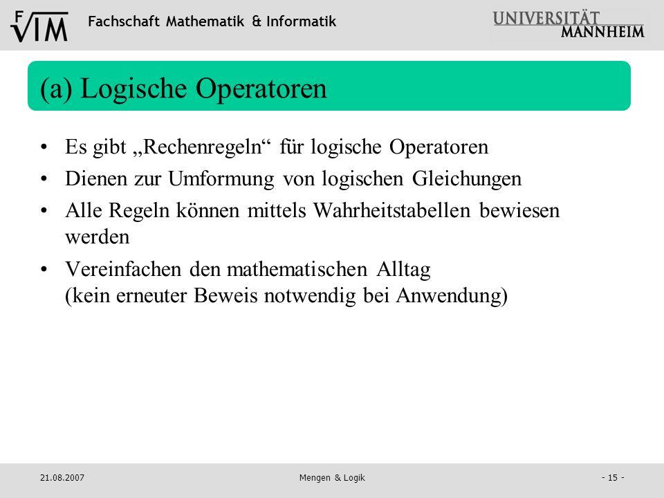 (a) Logische Operatoren