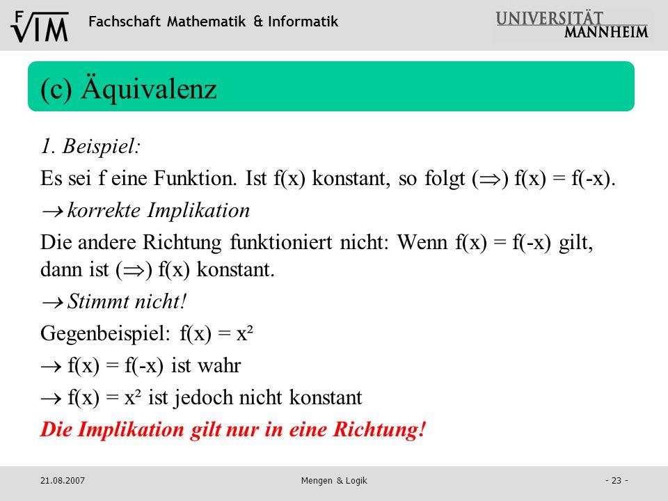 (c) Äquivalenz 1. Beispiel: