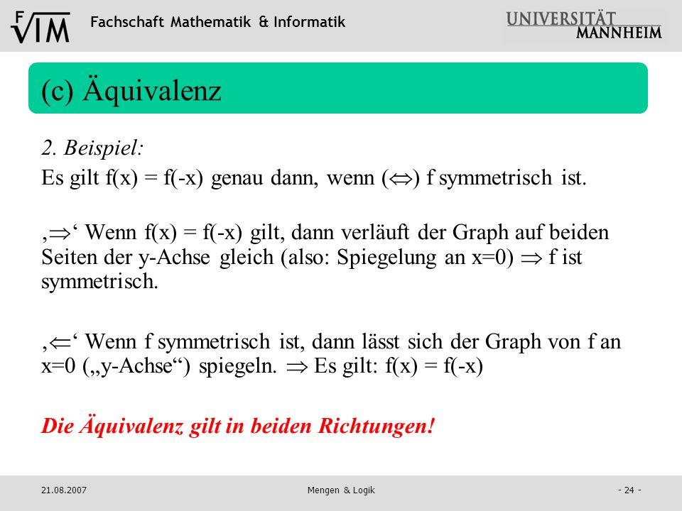 (c) Äquivalenz 2. Beispiel: