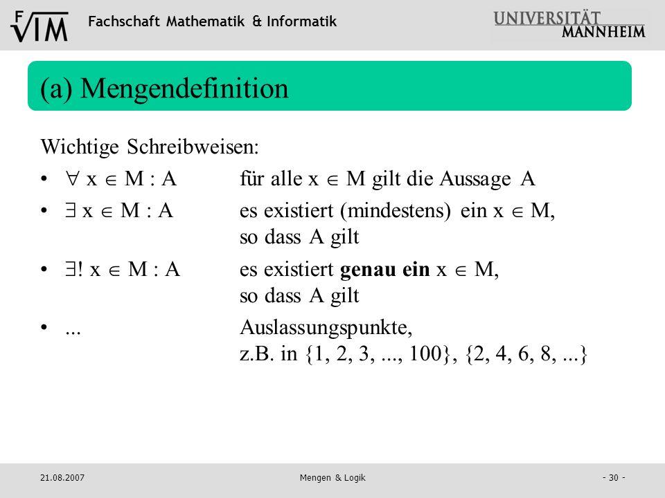 (a) Mengendefinition Wichtige Schreibweisen: