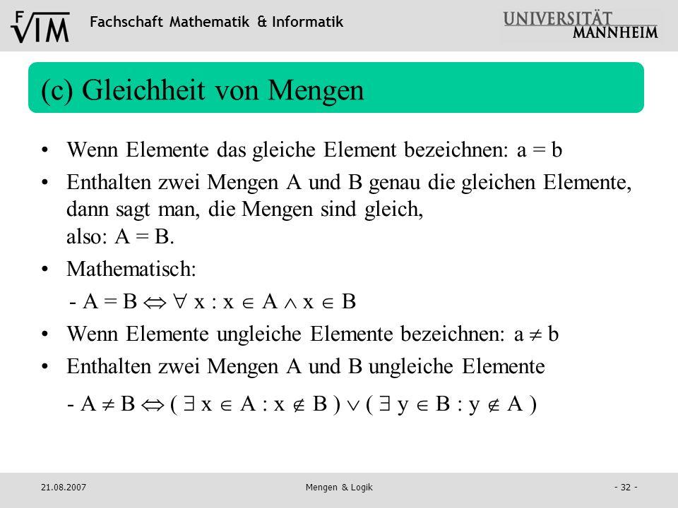 (c) Gleichheit von Mengen