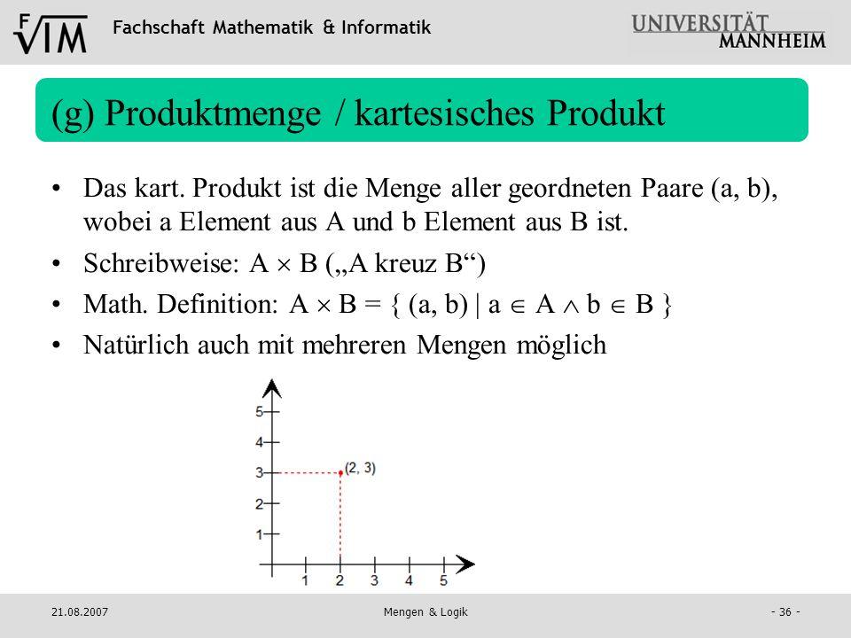 (g) Produktmenge / kartesisches Produkt