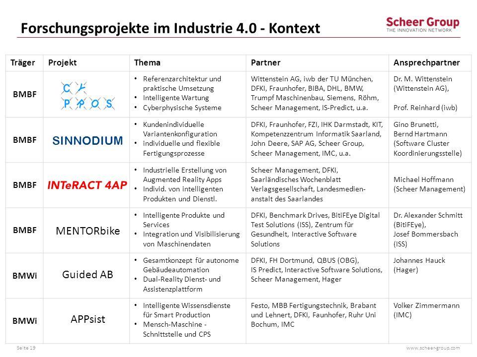 Forschungsprojekte im Industrie 4.0 - Kontext