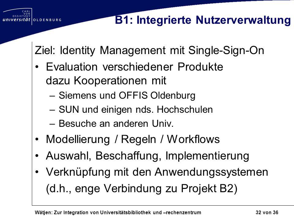 B1: Integrierte Nutzerverwaltung
