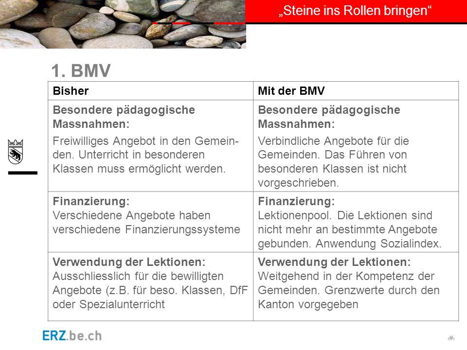 1. BMV Bisher Mit der BMV Besondere pädagogische Massnahmen: