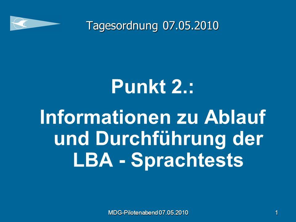 Informationen zu Ablauf und Durchführung der LBA - Sprachtests