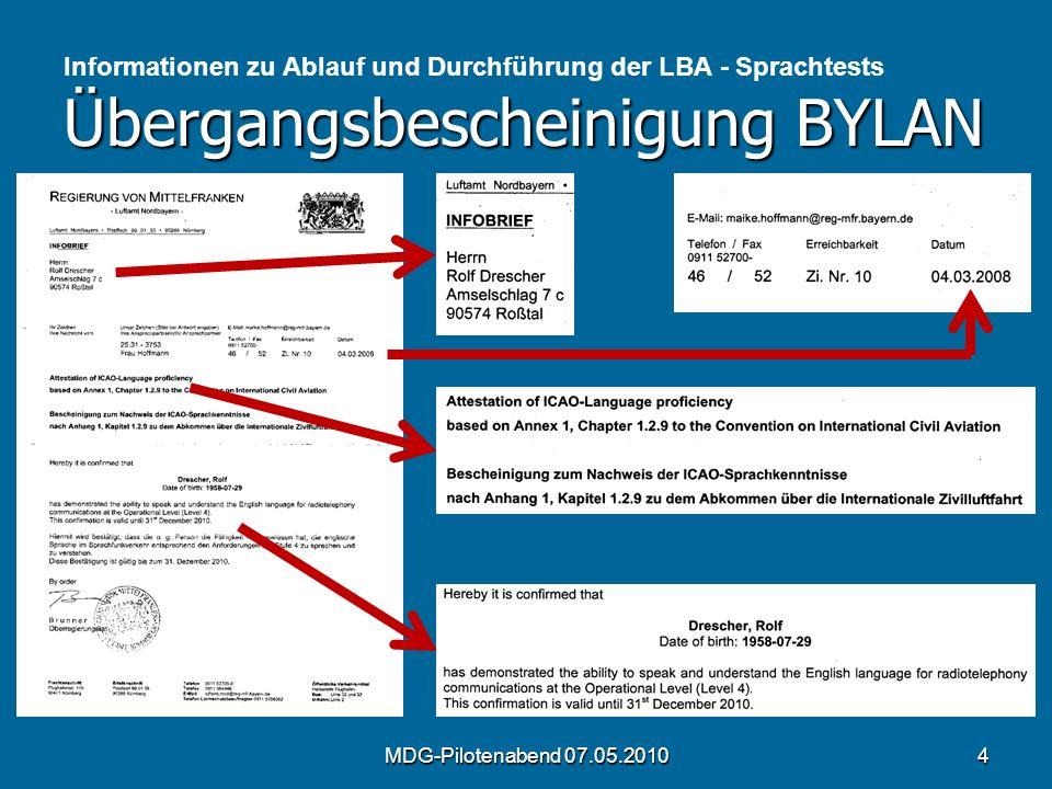 Informationen zu Ablauf und Durchführung der LBA - Sprachtests Übergangsbescheinigung BYLAN