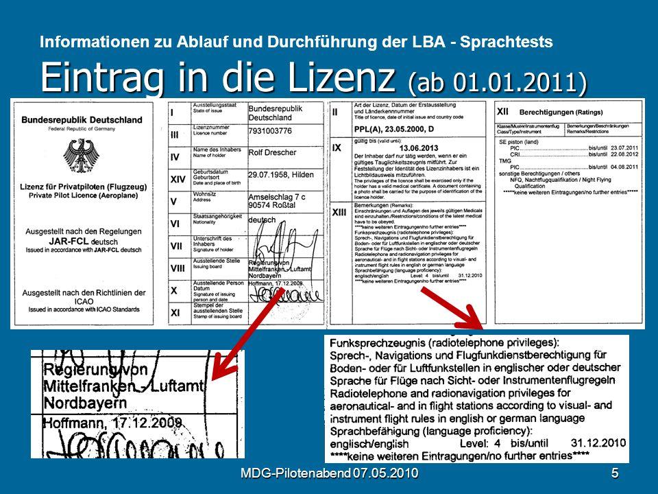 Informationen zu Ablauf und Durchführung der LBA - Sprachtests Eintrag in die Lizenz (ab 01.01.2011)