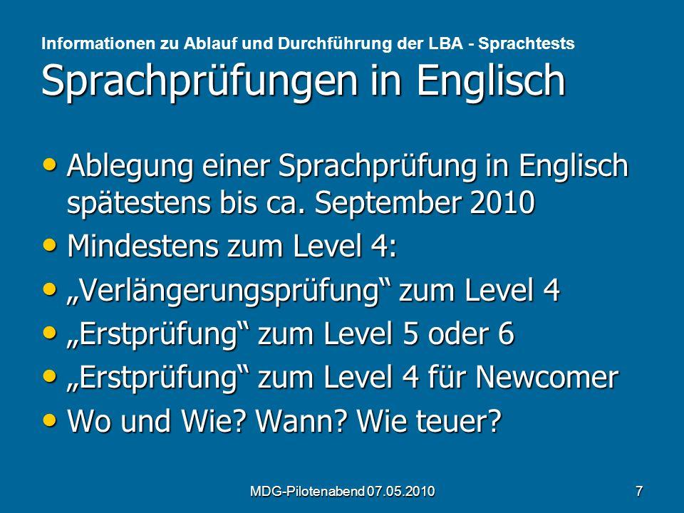"""""""Verlängerungsprüfung zum Level 4 """"Erstprüfung zum Level 5 oder 6"""