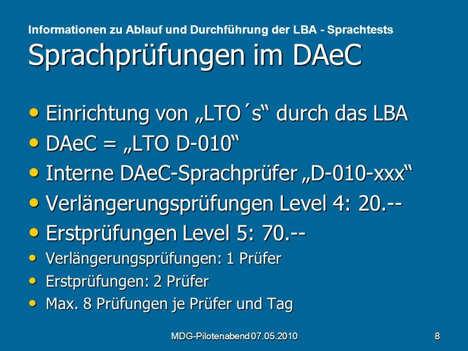 """Einrichtung von """"LTO´s durch das LBA DAeC = """"LTO D-010"""
