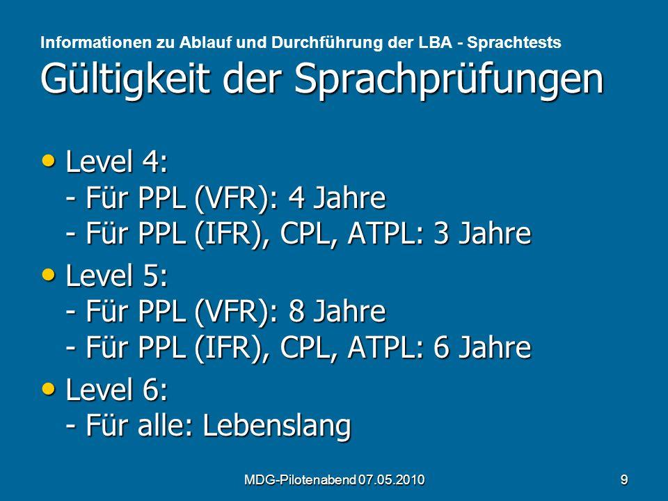 Level 4: - Für PPL (VFR): 4 Jahre - Für PPL (IFR), CPL, ATPL: 3 Jahre