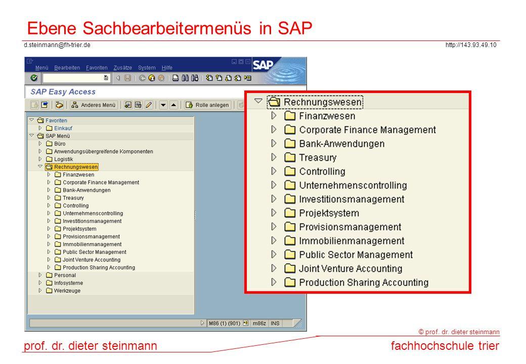 Ebene Sachbearbeitermenüs in SAP