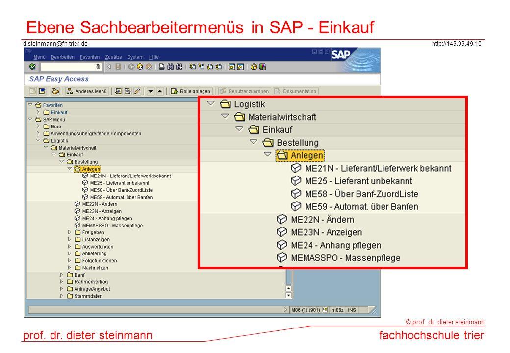 Ebene Sachbearbeitermenüs in SAP - Einkauf