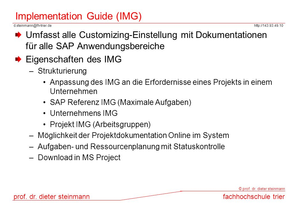 Implementation Guide (IMG)