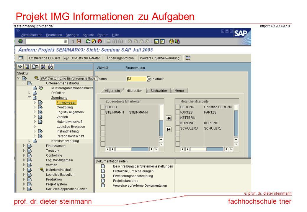 Projekt IMG Informationen zu Aufgaben