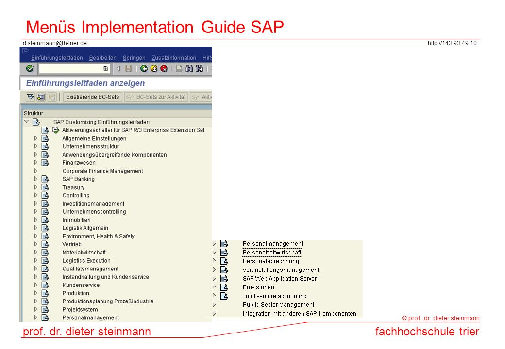 Menüs Implementation Guide SAP