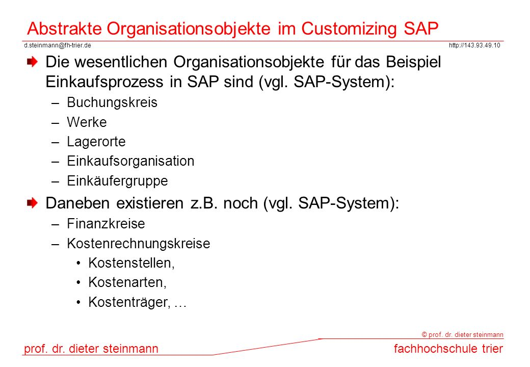 Abstrakte Organisationsobjekte im Customizing SAP