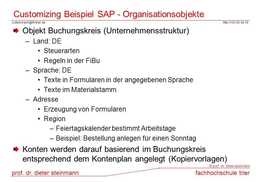 Customizing Beispiel SAP - Organisationsobjekte