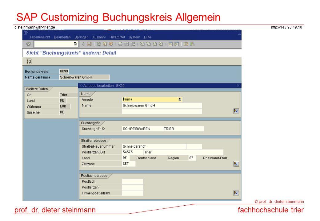 SAP Customizing Buchungskreis Allgemein