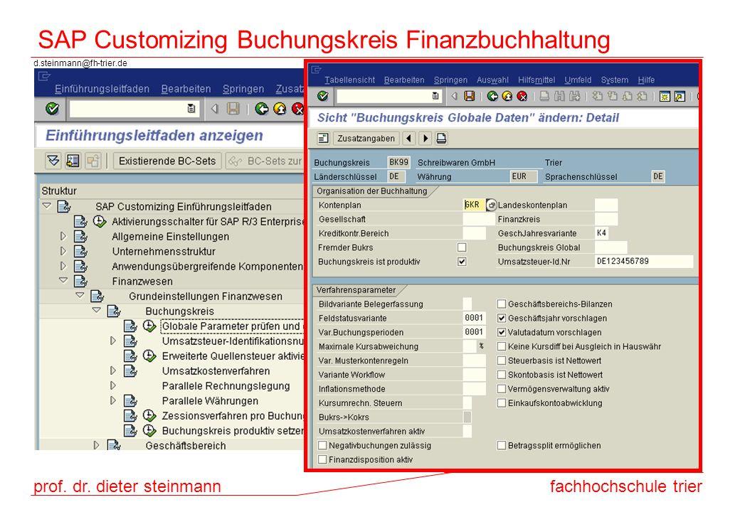 SAP Customizing Buchungskreis Finanzbuchhaltung