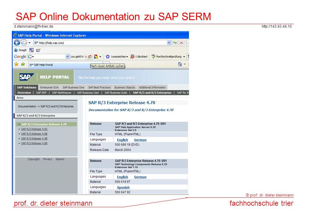 SAP Online Dokumentation zu SAP SERM