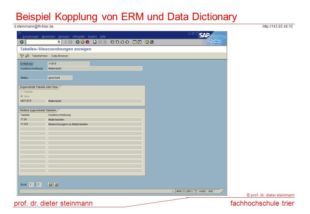 Beispiel Kopplung von ERM und Data Dictionary