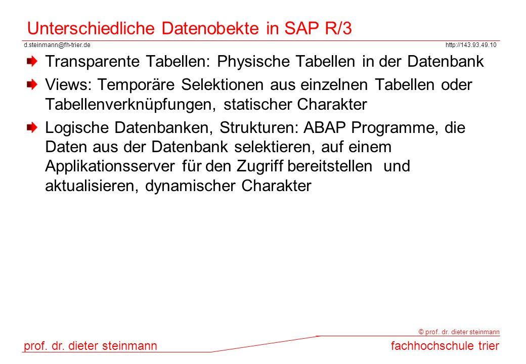 Unterschiedliche Datenobekte in SAP R/3