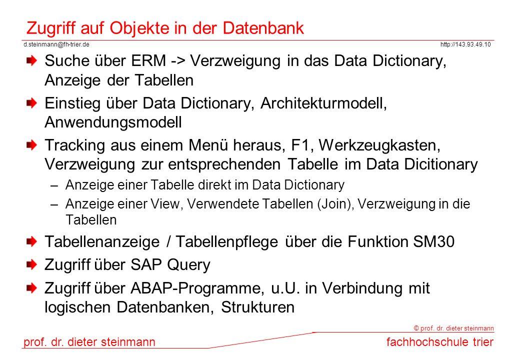 Zugriff auf Objekte in der Datenbank