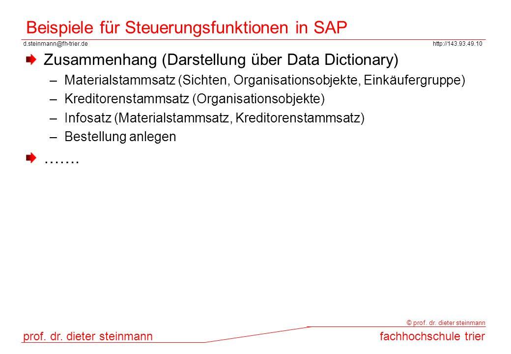 Beispiele für Steuerungsfunktionen in SAP