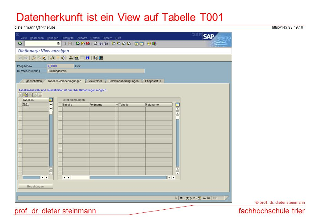 Datenherkunft ist ein View auf Tabelle T001