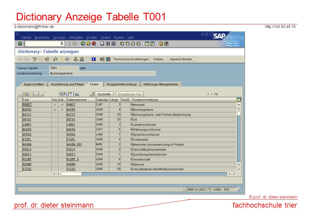 Dictionary Anzeige Tabelle T001