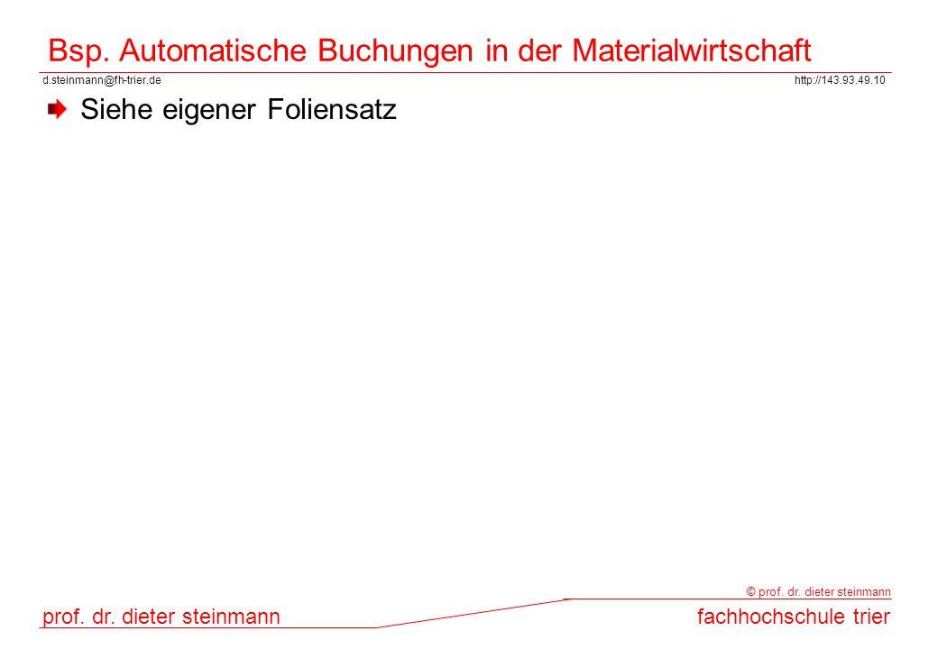 Bsp. Automatische Buchungen in der Materialwirtschaft