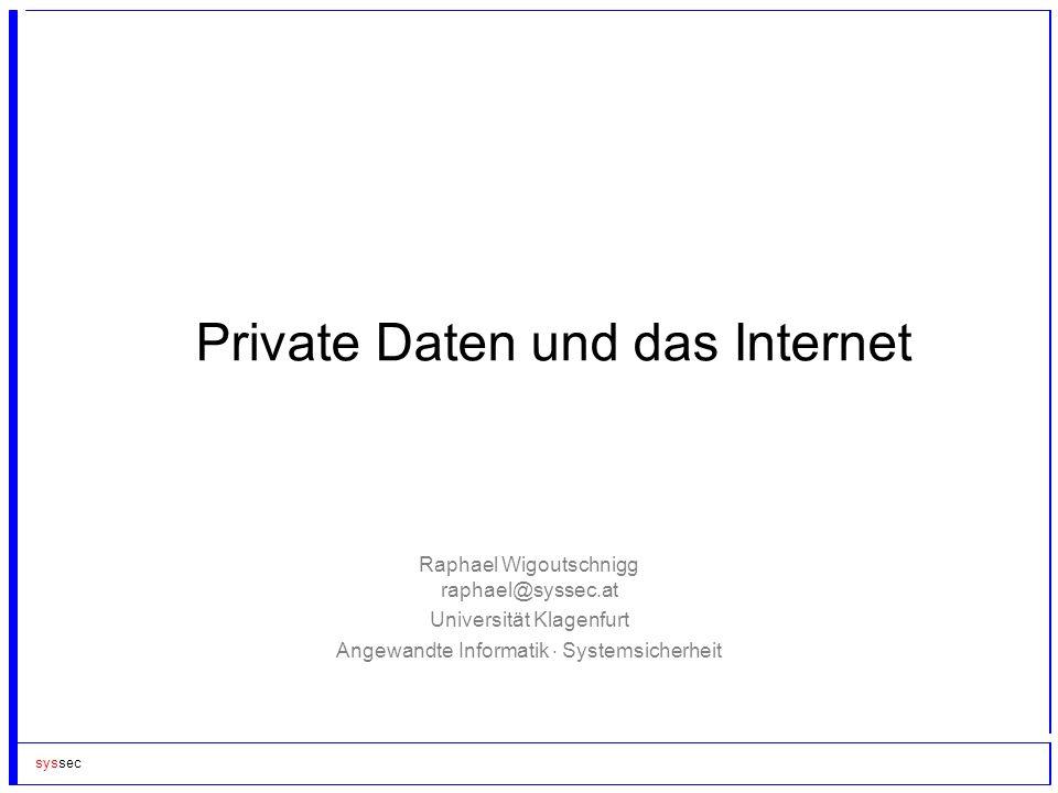 Private Daten und das Internet