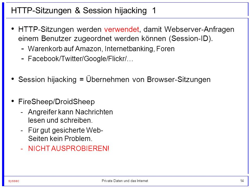 HTTP-Sitzungen & Session hijacking 1