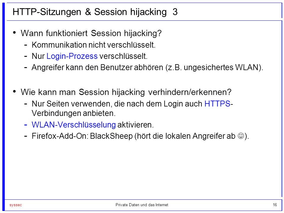 HTTP-Sitzungen & Session hijacking 3