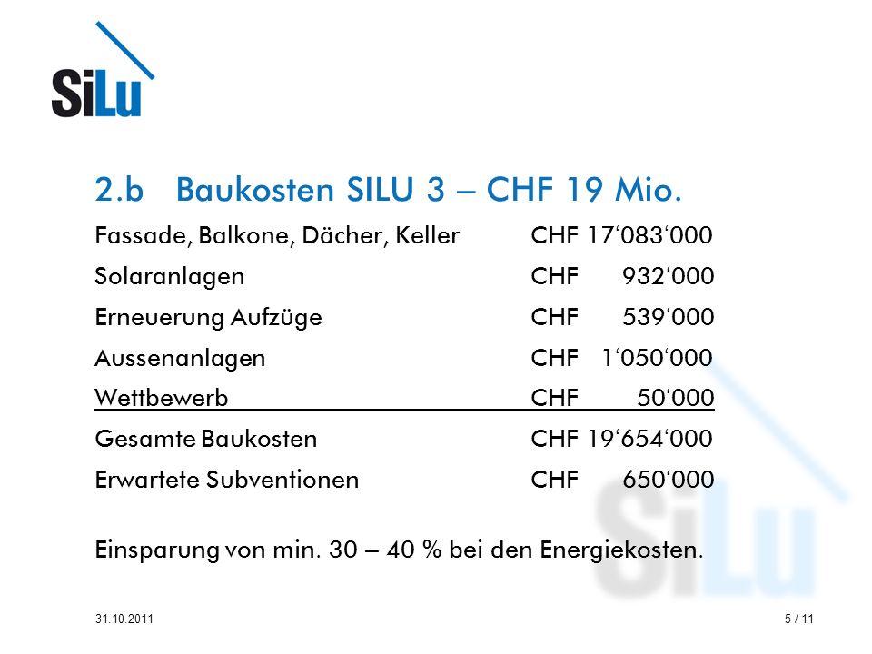 2.b Baukosten SILU 3 – CHF 19 Mio.