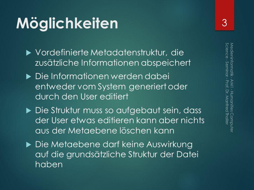 Möglichkeiten Vordefinierte Metadatenstruktur, die zusätzliche Informationen abspeichert.