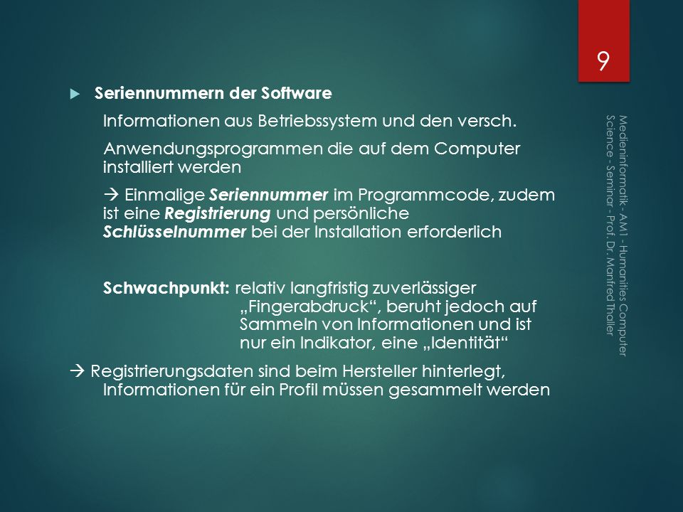 Seriennummern der Software