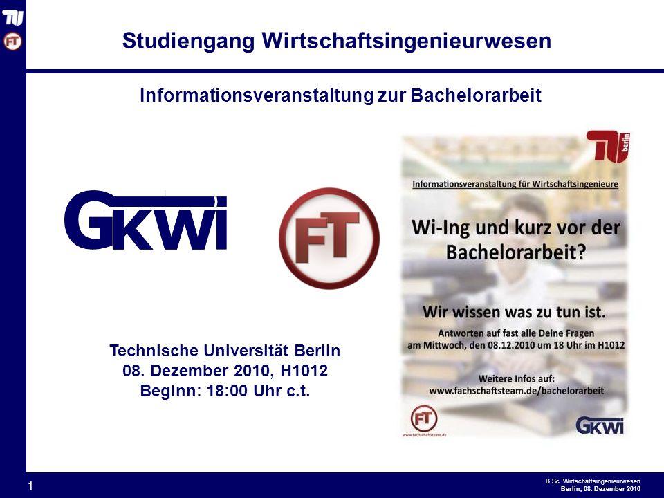 Informationsveranstaltung zur Bachelorarbeit